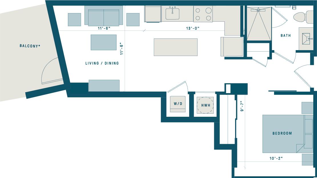 Floor Plan for Apt 917