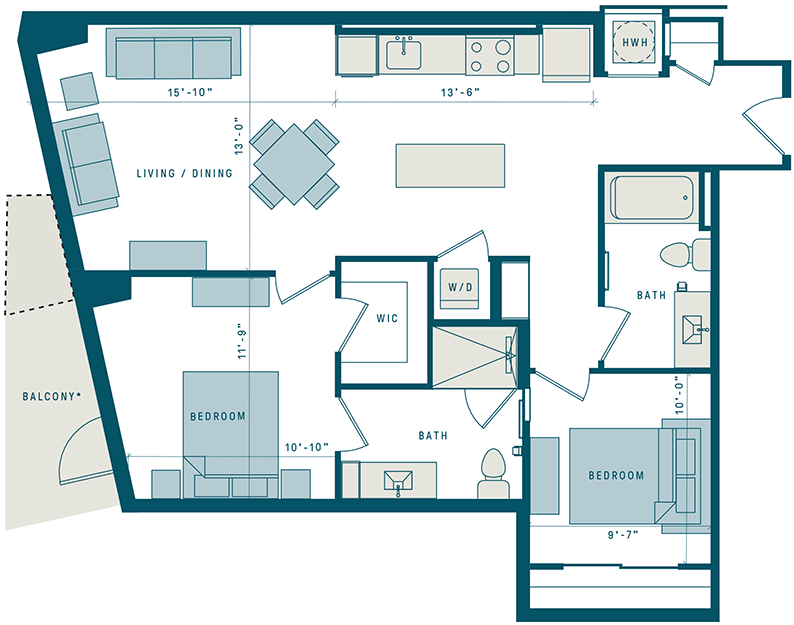 Floor Plan for Apt 305