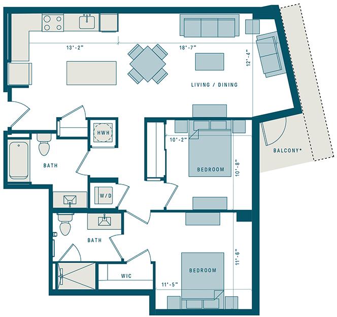 Floor Plan for Apt 720
