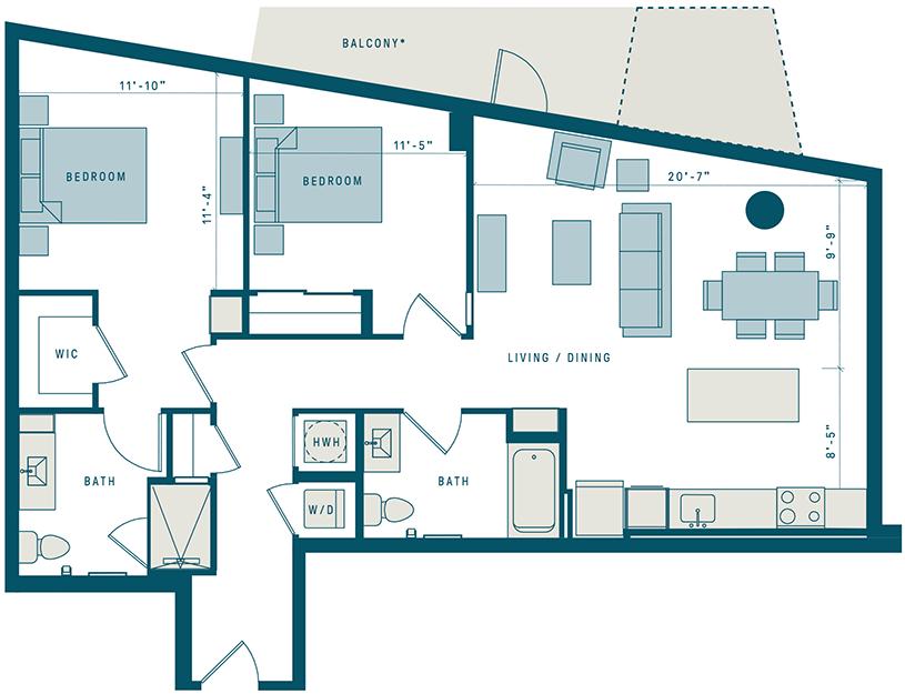 Floor Plan for Apt 303