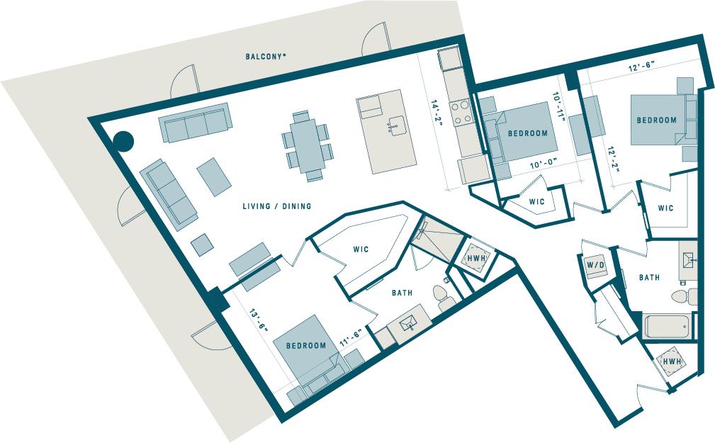 Floor Plan for Apt 725
