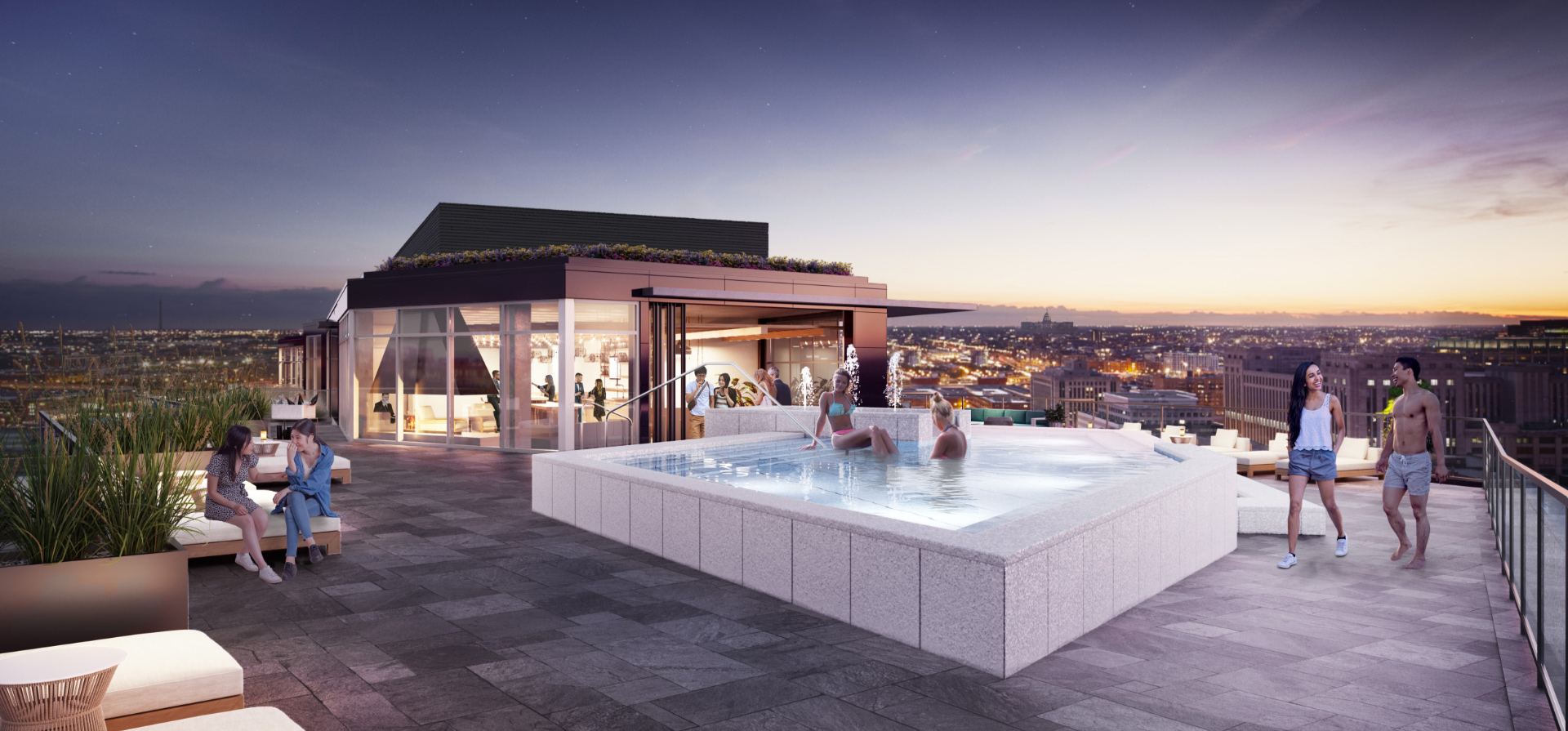 rooftop pool with people swimming and socializing